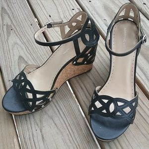 Adrienne Vittadini Cut-Out Black Wedges